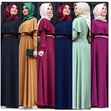 Plus Größe Kleider Moslemisches Abaya A line Maxi Kleid Frauen Rüschen Große Schaukel Robe Gürtel Kimono marokkanischen Kaftan Anbetung Islamische Kleidung