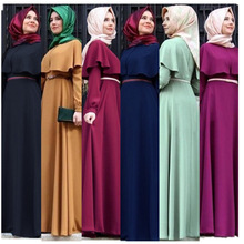 Plus Size Dresses Muslim Abaya A line Maxi Dress Women Ruffle Big Swing Robe Belt Kimono moroccan Kaftan Worship Islamic Clothes