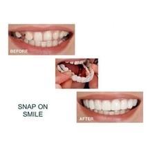 2 Pcs Denture Teeth Whitening Fake Tooth Cover Comfort Fit On Silicone Beauty Veneers Teeth Upper Lower Cosmetic Teeth
