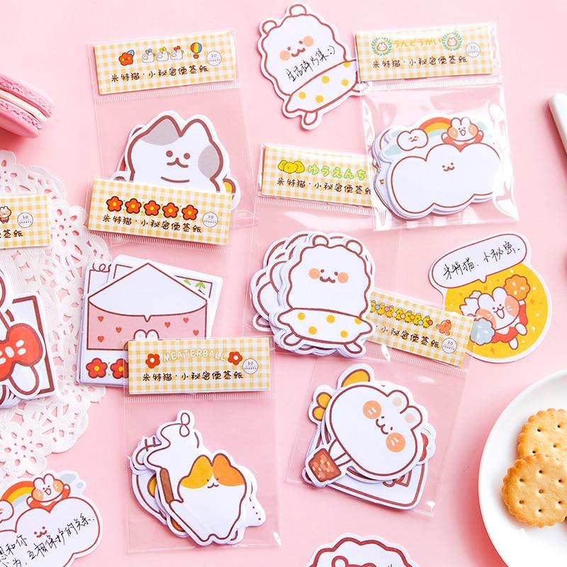 30 Pcs/bag Cute Cartoon Cat Secret Memo Pad Kawaii Message Notes Decorative Notepad Note Paper Memo Stationery Office Supplies