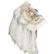 цена Fairy new Pearl luxury white bride wedding diamond tassel evening bag Handbag Clutch Dinner party clutch bag handbag