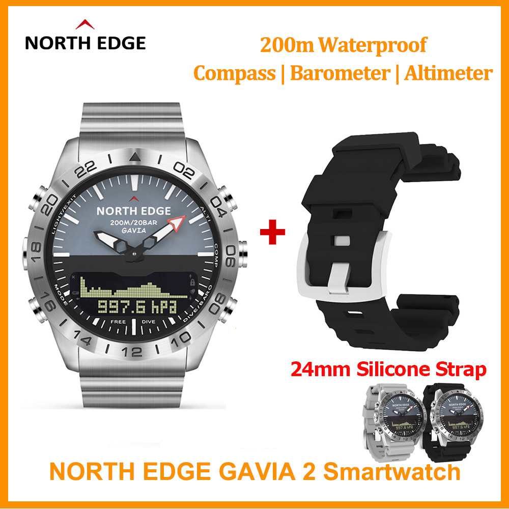 Original North Edge GAVIA 2 Smart watch Men's Watches Waterproof 200m Altimeter Compass Dive Quartz Business Sports Watch