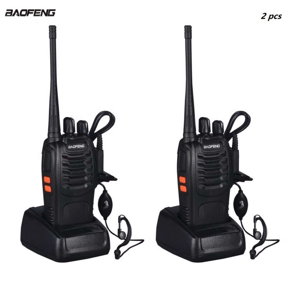 2pcs VHF/UHF  BF-888S Portable FM Transceiver Rechargeable Walkie Talkie In Two Senses 5W 2-way Ham Radio Comunicador