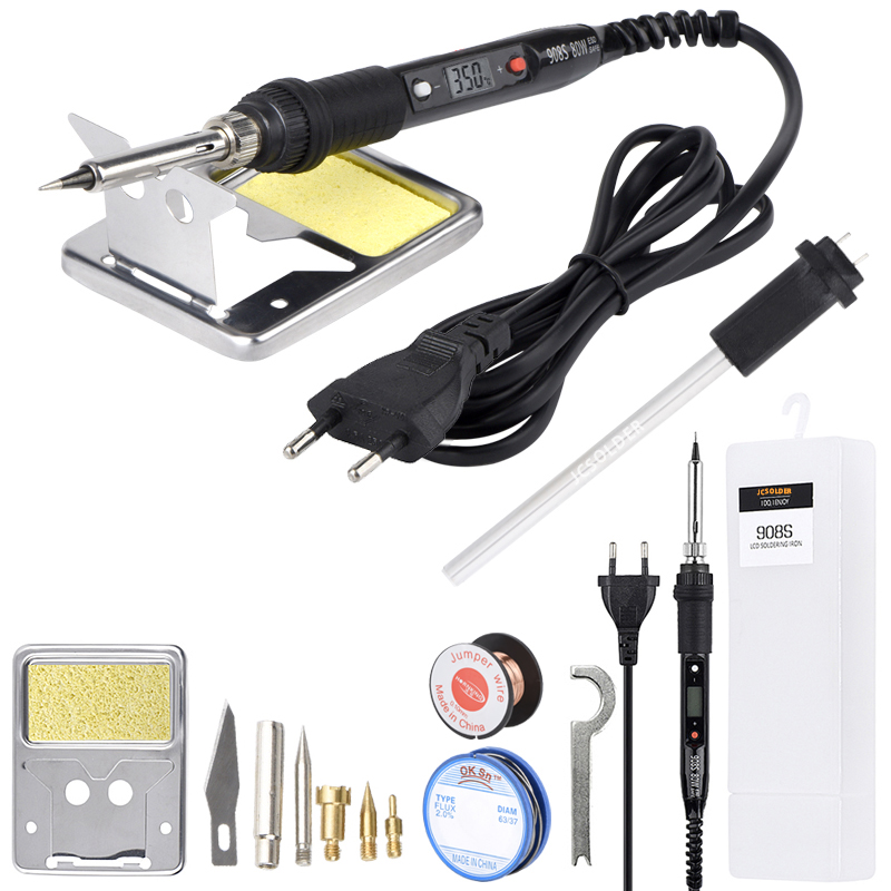 JCD Soldering Iron Kits 80W 110V 220V DIY Soldering Wood Burning Carve Tool Temperature Adjustable Wood Embossing Pyrography Pen