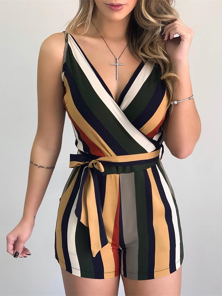 Women Patchwork Striped Sleeveless Tied Rompers Short Jumpsuit Sexy Ladies V-neck One Piece Overall Playsuits