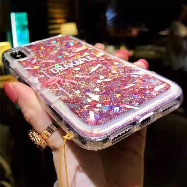 Liquid Quicksand purpurina funda de teléfono transparente para iPhone 6 6S 7 8 Plus X XS fundas de arena movediza funda carcasa de flamenco rosa Capa