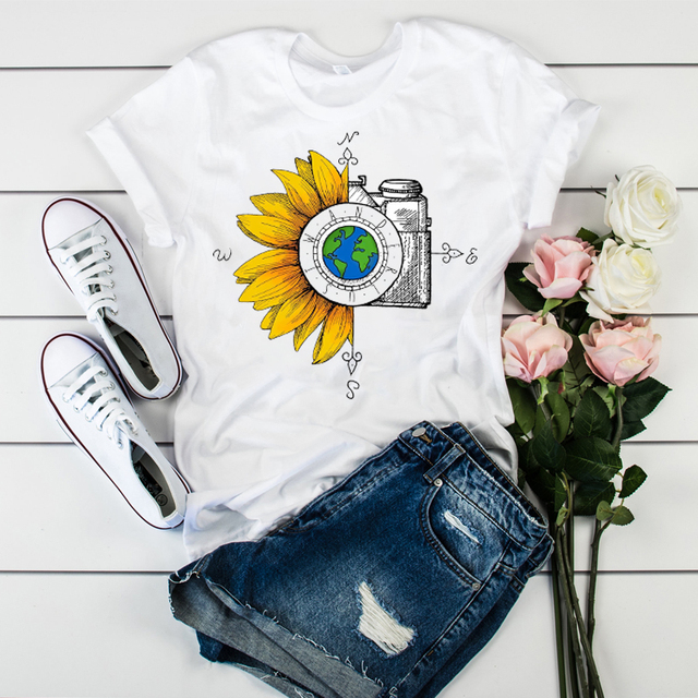 Women Graphic T-shirt Watercolor Female Printed Vintage World Compass Camera Flower Ladies T-shirt Camisas Mujer Womens T-shirt