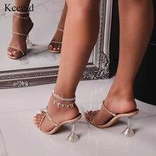 Kcenid 2020 yeni moda rhinestone PVC şeffaf terlik kristal perspex yüksek topuklu seksi kare ayak kadın parti sandalet pompaları