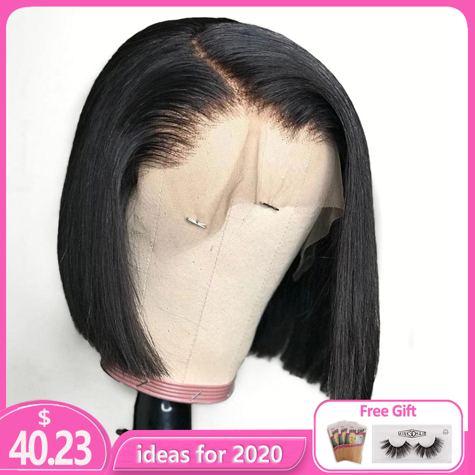Bob-Wigs Short Remy-Hair Knots Lace Preplucked Brazilian 13x4 with Can-Be-Dyed Bleached title=