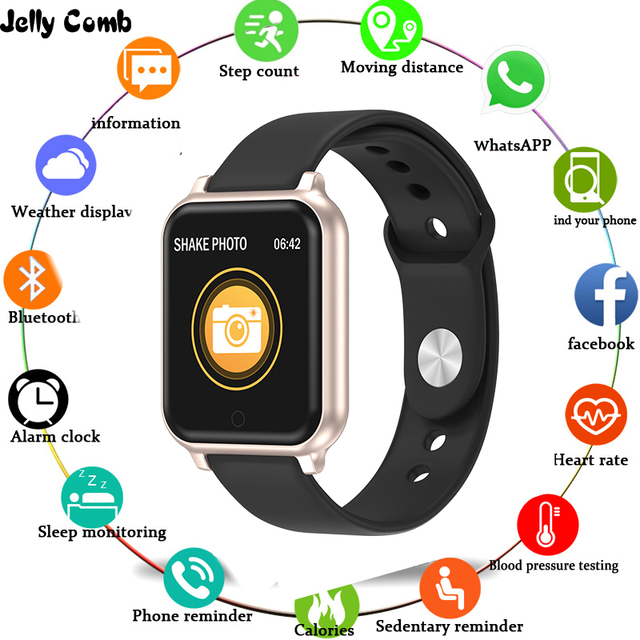 Jelly Comb T70 Smart Watch Waterproof Sports Smartwatch for iPhone Android Heart Rate Monitor watch Smart  for  Women Men Kids