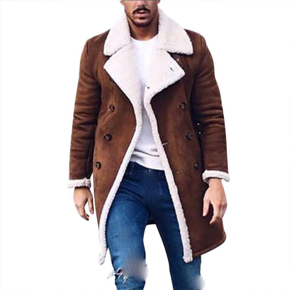 2019 Winter Men's Fur Fleece New Fashion Trench Coat Overcoat Male Lapel Warm Fluffy Long Style Brown Jacket Outerwear Plus Size
