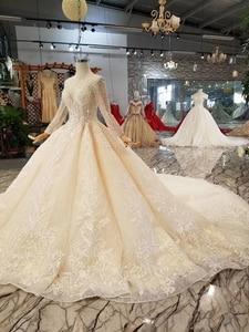Image 3 - BGW HT43021 robe de mariée en cristal à la main Champagne col rond à manches longues Corset lacets dos robe de mariée avec longue mode de Train