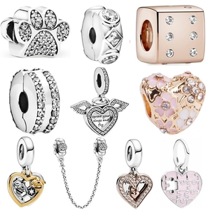 Ranqin Silver Color Pink Daisy Flower Charm Fit Original Pandora Bracelet Family Charm Angel Flower LOVE Bee Bead DIY