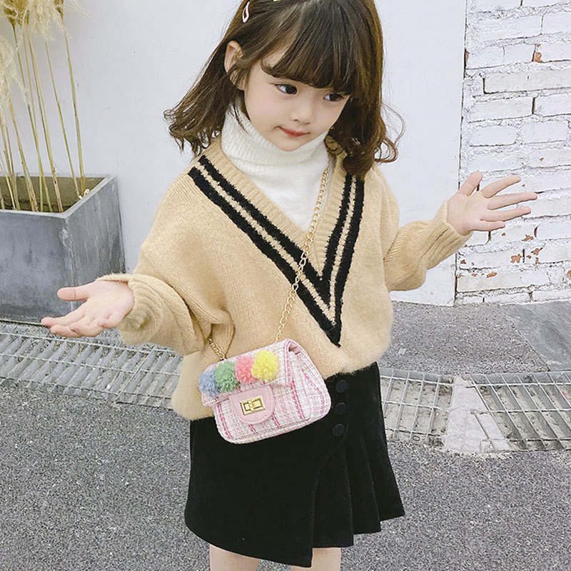 2020 New Style Fashion Korean Style Plaid Women's Small Children Graceful Pom Pom Change Accessories Shoulder Bag Women's