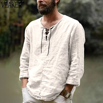 2020 New Men's Linen V Neck bandage T shirts Male Solid Color Long Sleeves Casual Cotton Linen tshirt Tops M-3XL