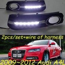купить Car Flashing 1 Set For Audi A4 A4L B8 2009 2010 2011 2012 LED DRL Daytime Running Lights Daylight Fog Lamp cover hole по цене 2865.77 рублей