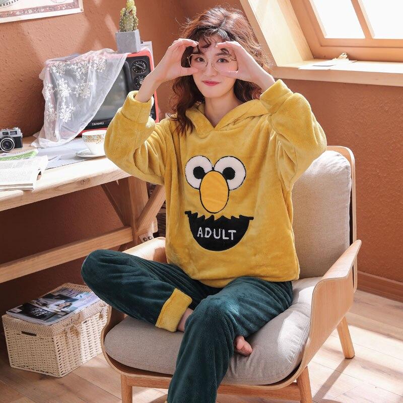 Plus Size 3XL 4XL 5XL 85kg Sleepwear Long Sleeve Warm Flannel Hooded Pajamas Winter Women Pajama Sets Print Thicken Sleepwear