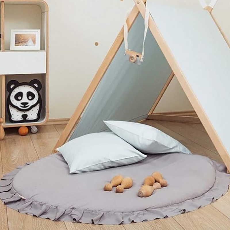 Portable Baby Infant Activity Mat Carpet  Developing Crawling Play Mat Lace Decoration Rug Removable