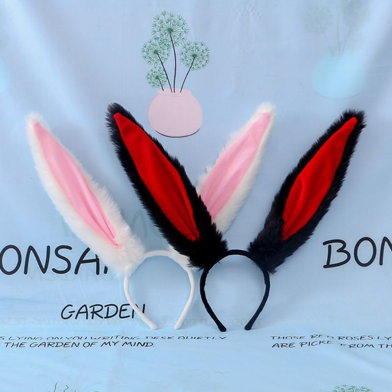 Female Girls Lolita Cosplay Headband Fluffy Plush Sweet Long Rabbit Bunny Ears Bandana Hair Hoop Cartoon Anime Headpiece