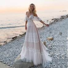 Boho Wedding Dresses 2020 Off Shoulder Lace Wedding Gowns Sexy Backless A Line Bride Dress aliexpress login(China)