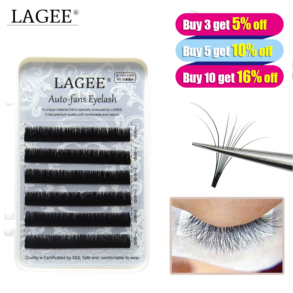 LAGEE Easy Fan Eyelash Extensions False Eyelash Blossom Bloom Volume Lash Fast Fan Eyelash Auto Fans Nagaraku Line