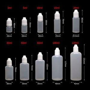 Image 3 - 50pcs 3/5/10/15/20/30/50/100/120 ml Empty LDPE Plastic Squeezable E Liquid Juice Dropper Eye Bottles Long Tip Cap Vape Container