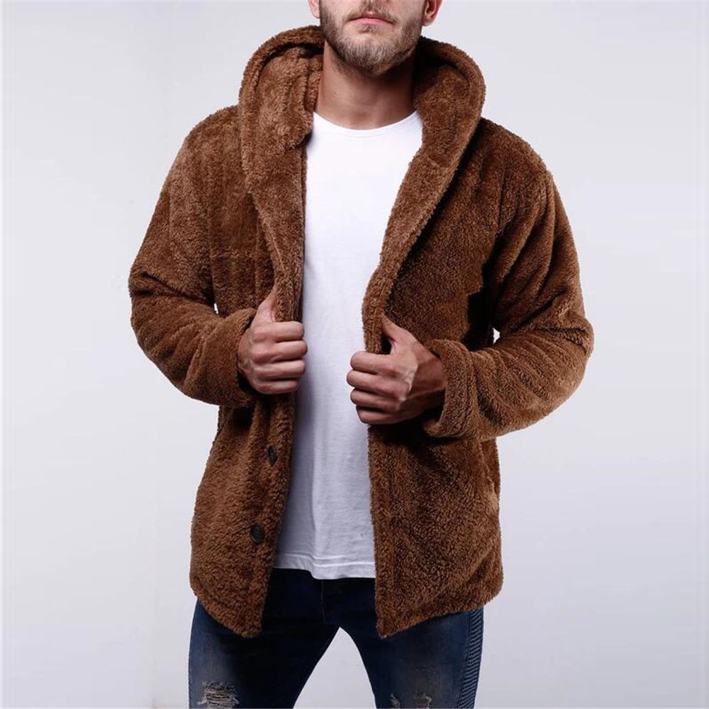Men's Winter Sherpa Cardigan Hooded Fluffy Fuzzy Coat Teddy Fleece Hoodie Faux Fur Winter Warm Casual Sweatshirt