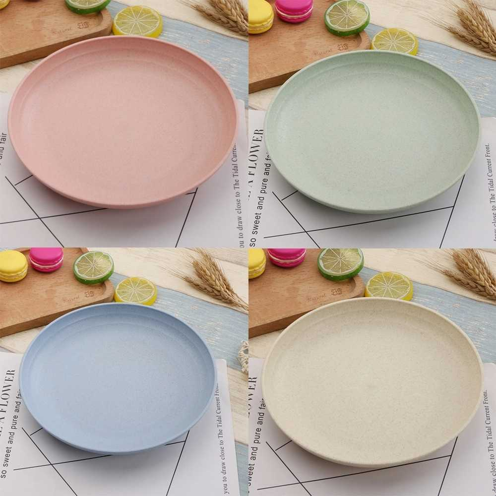 1 Pc 친환경 식품 스낵 접시 접시 밀짚 점심 식사 디저트 과일 접시 트레이 식기 4 색 서빙 플레이트