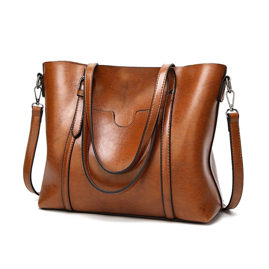 BELLELIFE Oil Wax Leather Handbag for Women Vintage Luxury Tote Lady 2 in 1 Shoulder Bags Fashion Large Messenger Bag