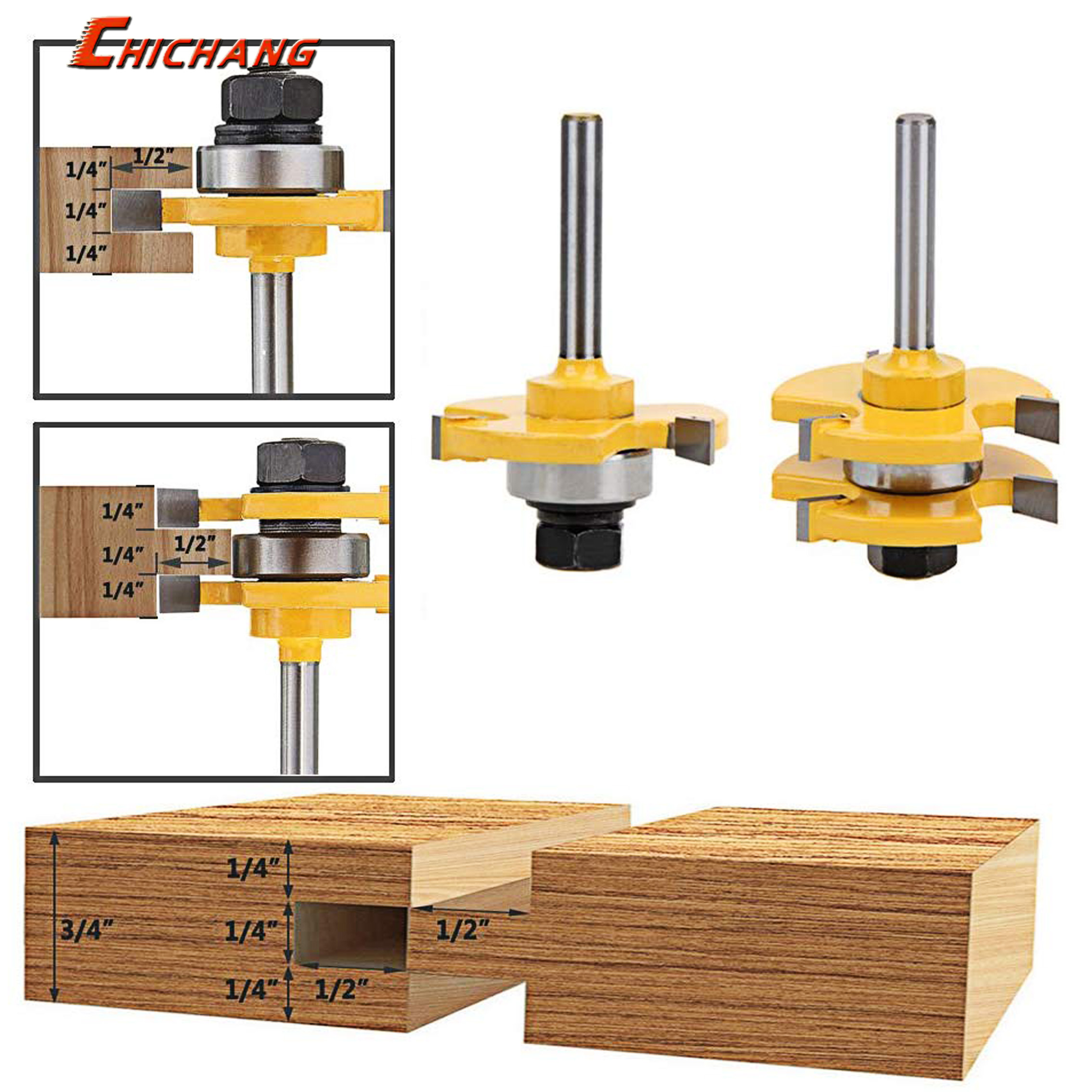 2 Pc 6mm Shank High Quality Tongue & Groove Joint Assembly Router Bit Set 3/4
