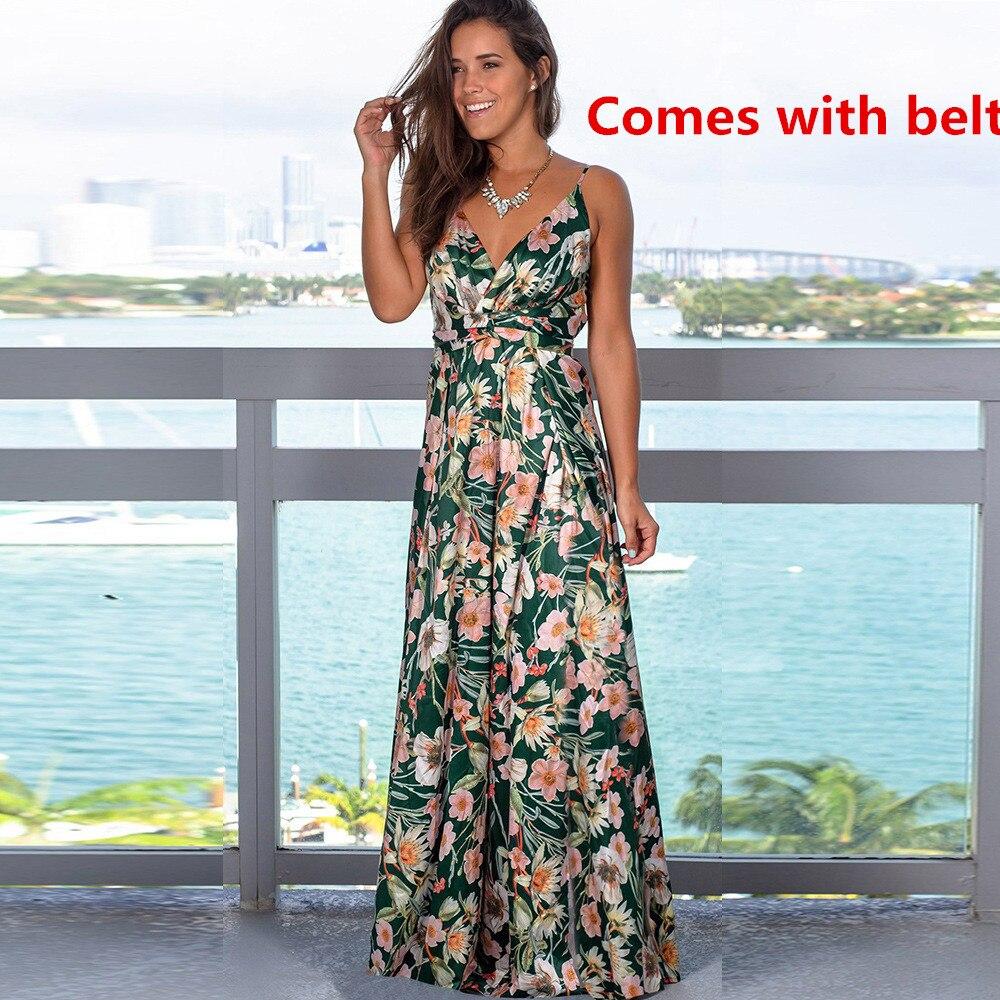 Ladies Print Floral Long Boho Bohemian Beach Summer Dress Women Sundress Sexy V-Neck Sleeveless Strap Maxi Vintage Dress Vestido 7
