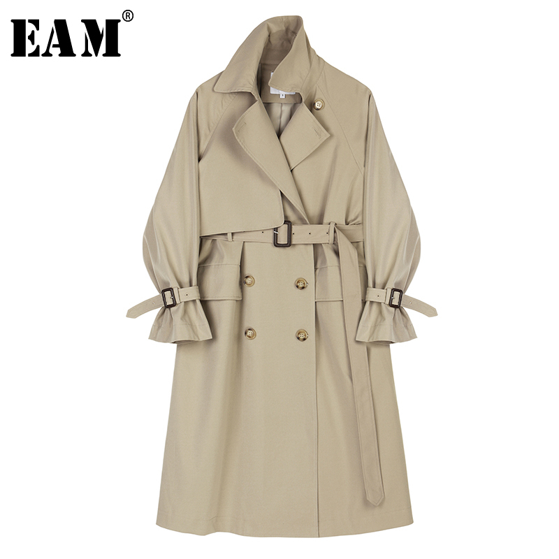 [EAM] Women Belt Spliced Oversize Trench New Lapel Long Sleeve Loose Fit Windbreaker Fashion Tide Autumn Winter 2019 1A620