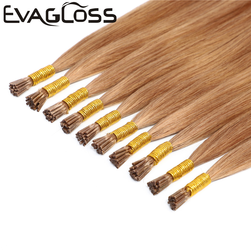 EVAGLOSS Italian Keratin Fusion Pre Bonded Microlink Stick I Tip Cuticles Aligned Natural  Russian Remy Hair Extensions 0.5g/s