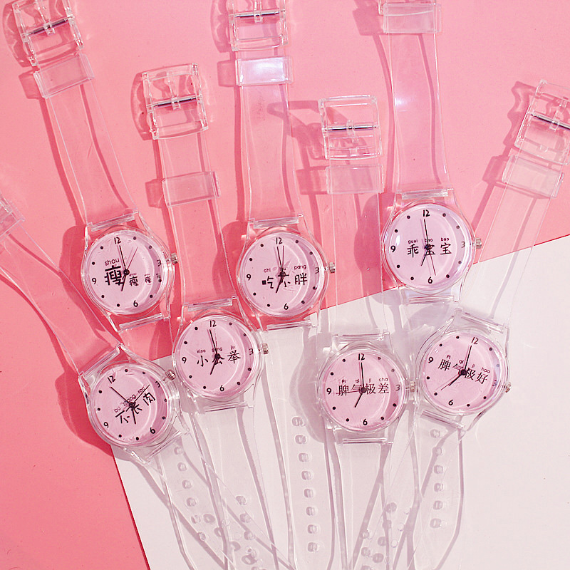 Women Watches Silicone Cartoon Style Transparent Strap Women Watch Korean Style Round Dial Casual Watch LL@17
