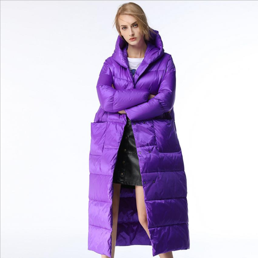 122cm ankle length Winter oversze fluffy   coat   90%   down     coats   female hooded windproof warm duck   down   outerwear F235