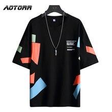 Camiseta divertida para hombre, camisa de Hip-Hop, cuello redondo, informal, holgada, multicolor, de retales, de verano