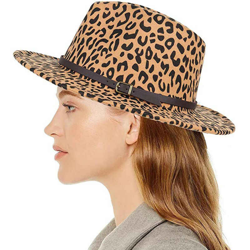 Fashion Unisex Hard Felt Panama Hat Leopard Print Woolen Fedora Men Women Trilby Hats Gangster Caps Wide Brim Hat 3FS