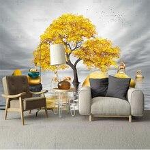 Самоклеящиеся обои, настенные водонепроницаемые обои с золотым деревом, оленем, каменным пейзажем, для телевизора, гостиной