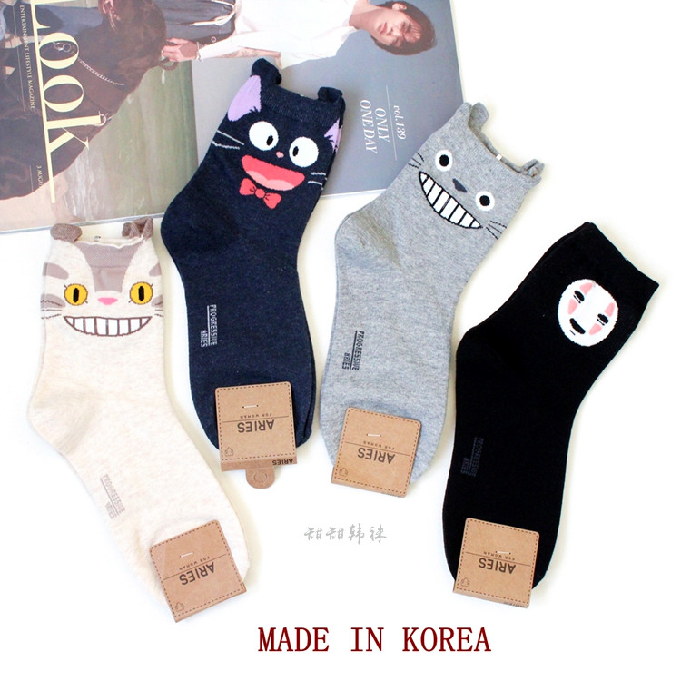 My Neighbor Totoro Cartoon Sock No Face Cat Cute Funny Fashion Anime Women Socks Spring Autumn Sweat Absorption Gray Cotton Sock