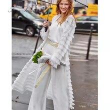 Women coat tassel large size Loose long cardigan 2019 autumn winter sobretudo feminino