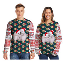 цена на New Christmas bear 3d printed Sweater fashion personality stitching round neck lovers shirt Unisex Long Sleeve Pullover Jumpers