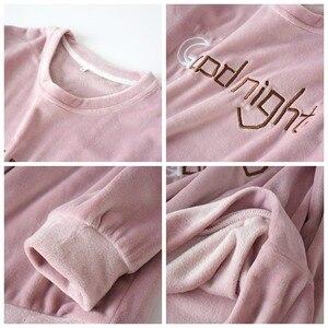 Image 4 - Пижамный комплект JULYS SONG для мужчин и женщин, комплект из 2 предметов, плотная фланелевая теплая Пижама для пар, Розовая домашняя одежда с длинным рукавом, Осень зима