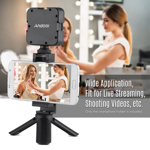 Image 2 - Andoer Metal Tripod Mount Adapter Phone Holder with Cold Shoe Mounting LED Video Light Support Vertical and Horizontal Modes