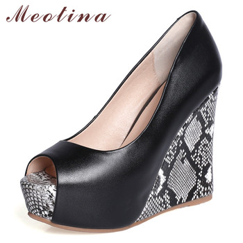 Meotina High Heels Women Pumps Natural Genuine Leather Platform Wedges High Heel Shoes Mixed Colors Peep Toe Shoes Lady Size 39