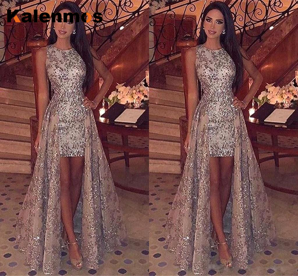 Sexy Long Dress Women Sleeveless Solid Sequin O Neck Asymmetrical High Street Dance Wedding Prom Party Night Fashion Dresses Top