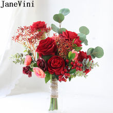 JaneVini Red Flower Bride Bouquet Artificial Peony Sunflower Eucalyptus Yellow Wedding Bridal Hand Bouquets Bridesmaid Roses(China)