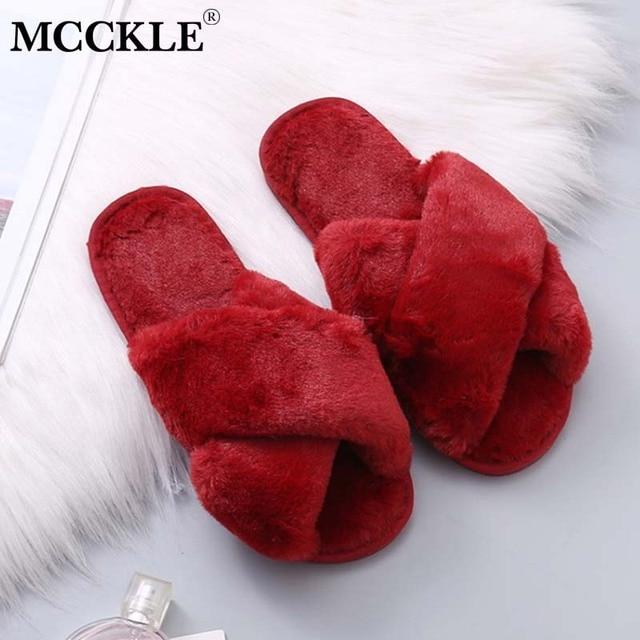 Winter Shoes House Slippers Warm Faux Fur Soft Plush Furry Fashion Shoes 1