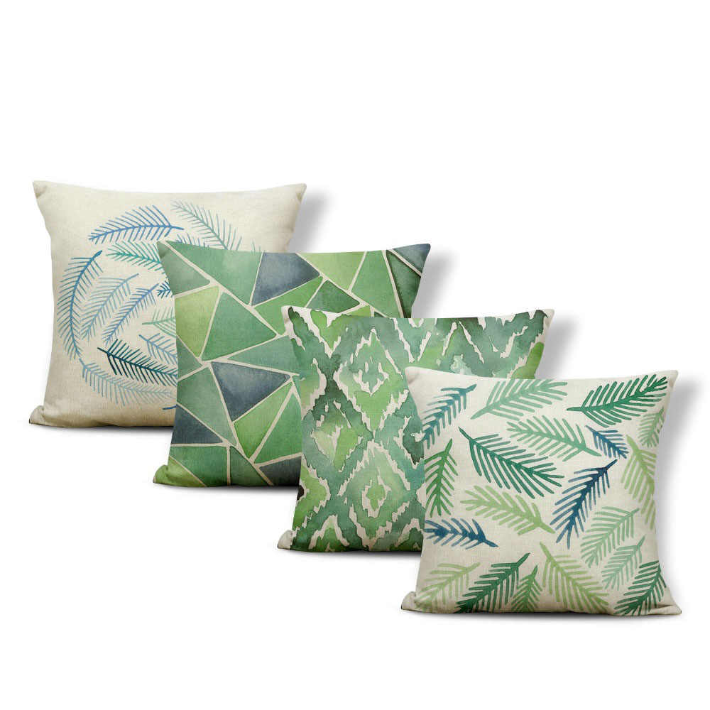 Classic Fashion Tropical Style Cushion Set Leaf Geometry Sofa Bedroom Decoration Cushion Cover Polyester Linen Throw Pillow Cushion Cover Aliexpress