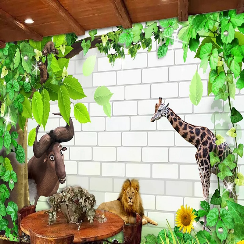 New Custom Large Mural 3D Wallpaper Cute Cartoon Lion Giraffe Cow Children's Bedroom Mural TV Back Wall Decor Deep 5D Embossed