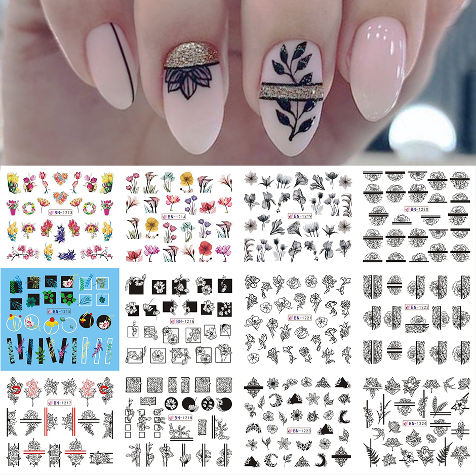 12pcs Valentines Manicure Love Letter Flower Sliders for Nails Inscriptions Nail Art Decoration Water Sticker Tips GLBN1489-1500 14